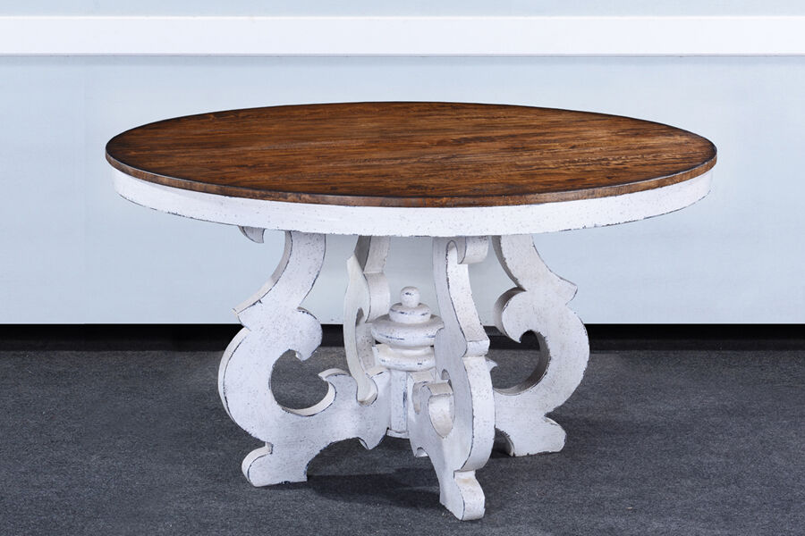 Cambridge french country 54 round dining table white for Distressed white dining table