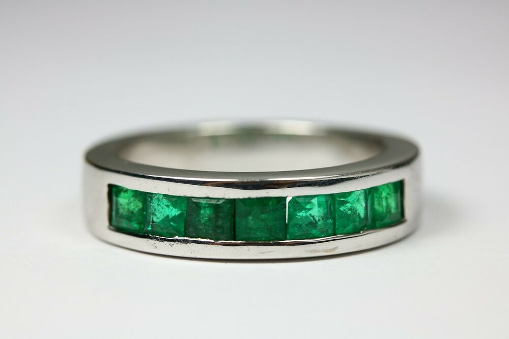 14K Heavy Men s Band Ring Channel Set Princess Cut Natural Emerald Gold 1