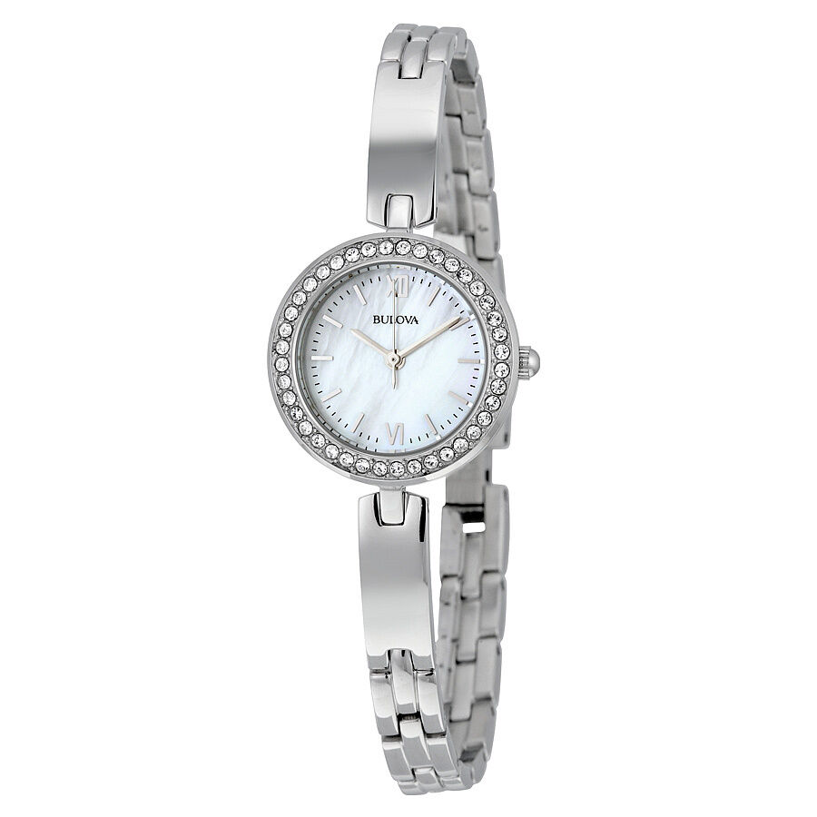 Bulova crystal white mother of pearl dial ladies stainless steel watch 98x107 ebay for Crystal watches
