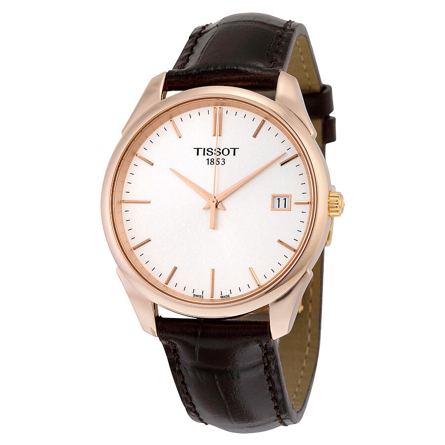 tissot t gold vintage silver leather mens