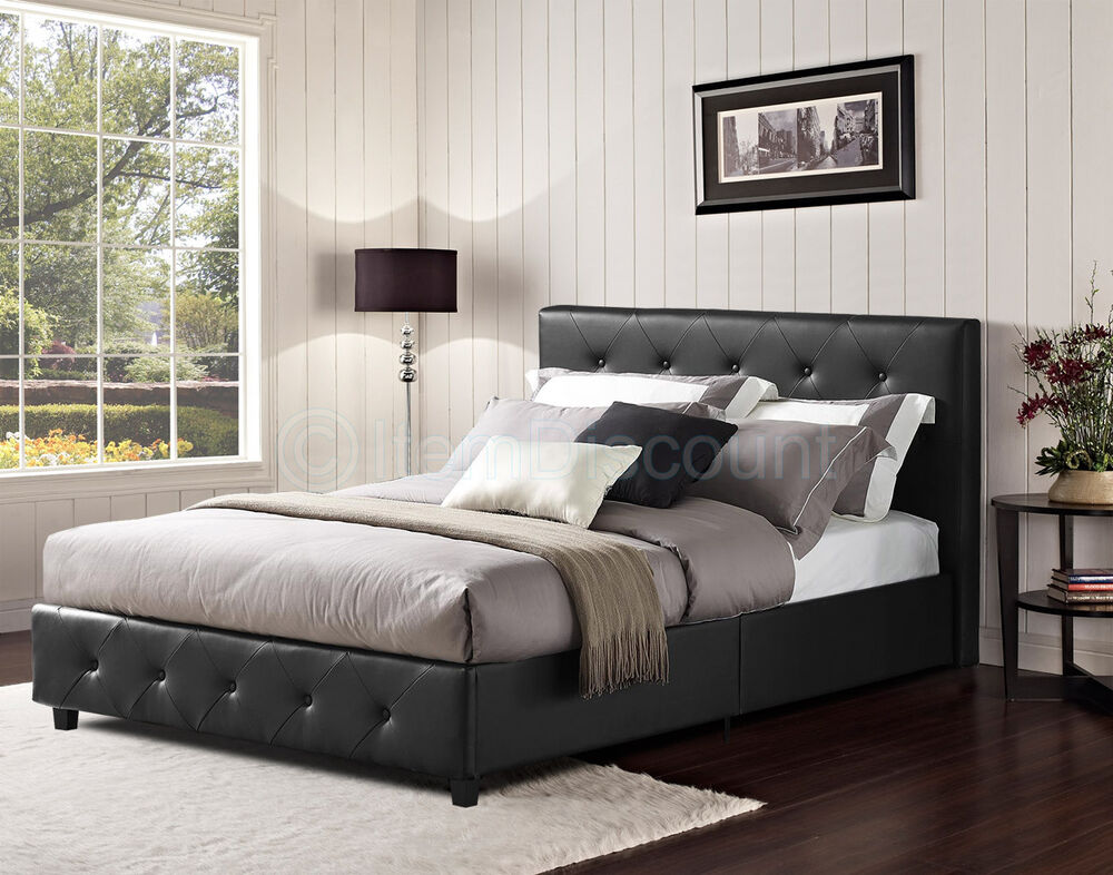 black button tufted faux leather upholstered platform bed frame queen full twin ebay. Black Bedroom Furniture Sets. Home Design Ideas