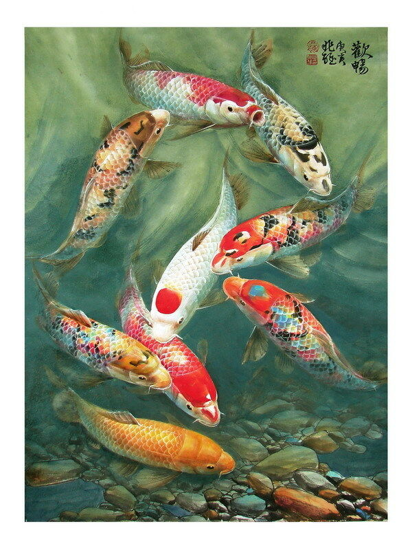 Modern sitting wall decor print oil painting feng shui for Koi fish wall decor