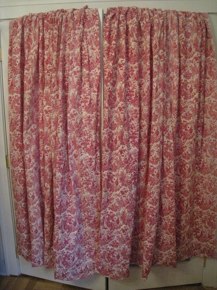 French Country Red Toile Lined Curtain Drapes With Pinched