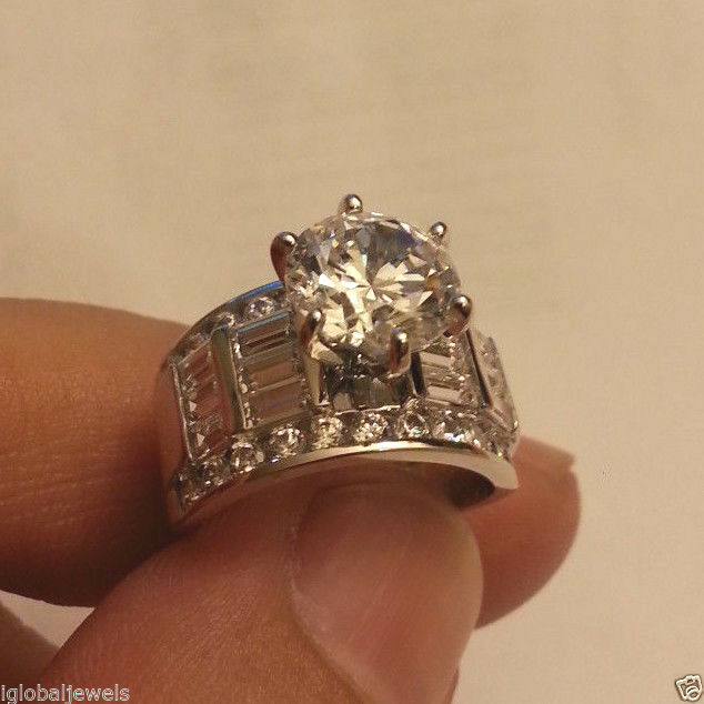 4.50 Ct 14K Real White Gold Big Fancy Round Baguette Side