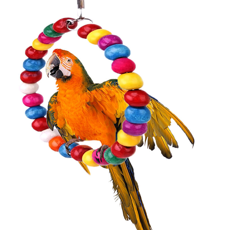 Wood Bird Toys : Colorful wood bird toy swing hanging ring perch cage for
