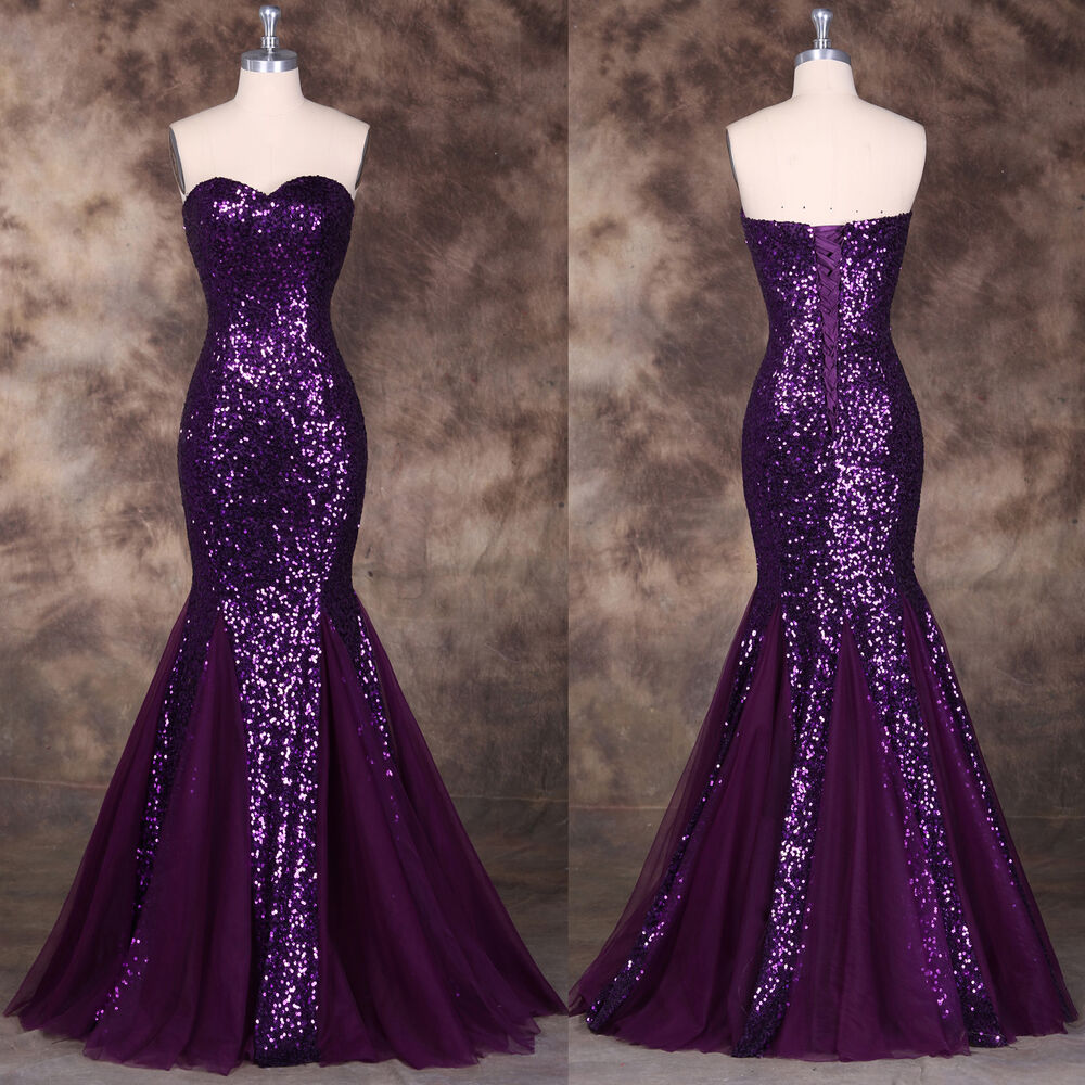 Purple Women Sequin Long Mermaid Formal Evening Gown Prom
