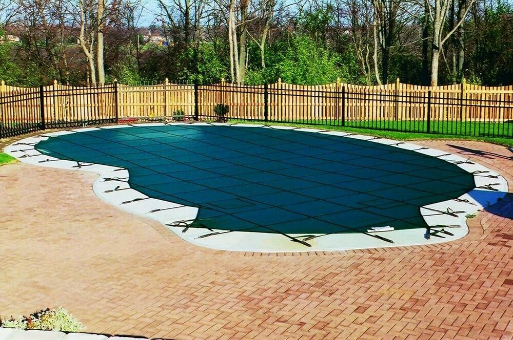 Safety mesh pool cover for kidney or free form shaped - Swimming pool safety covers inground ...