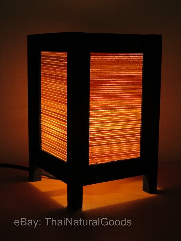 Asian Oriental Bamboo Art Bedside Table Lamp Wood Shades