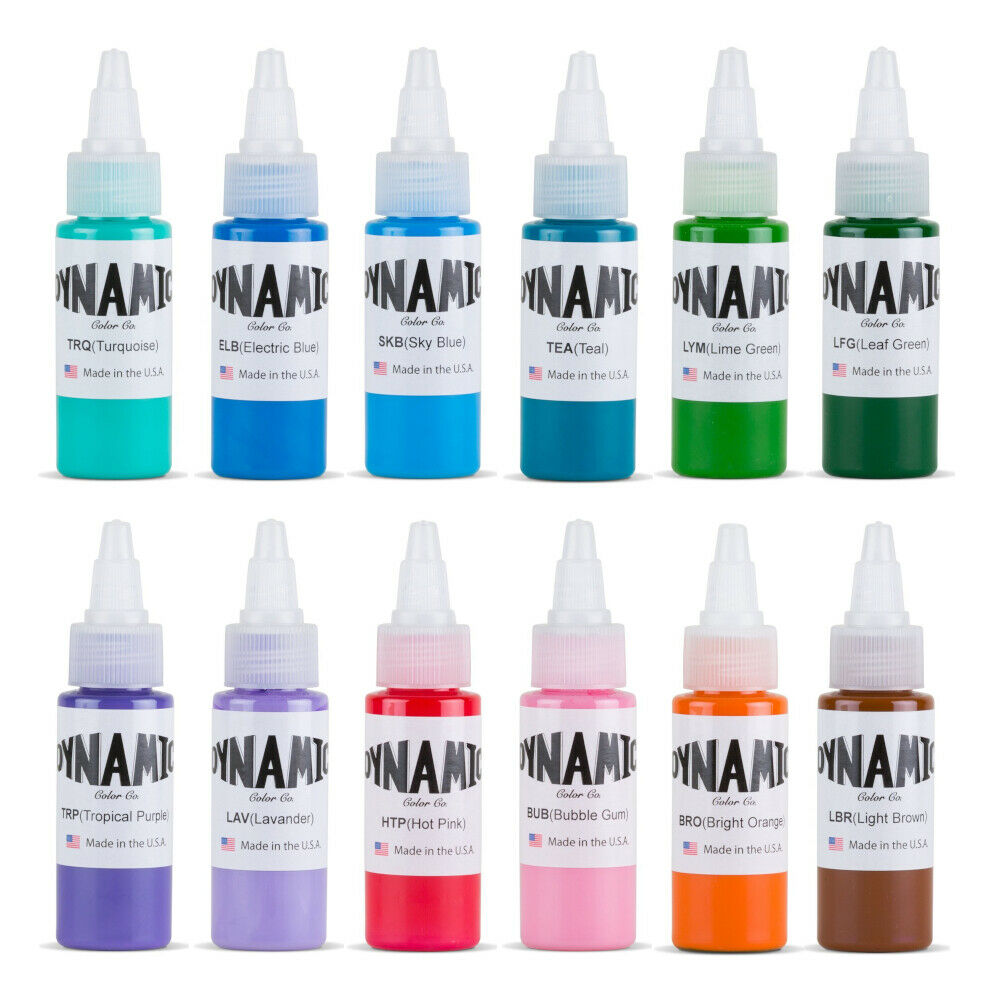 Dynamic color tattoo ink set of all 1 oz colors made in for Tattoo ink dynamic
