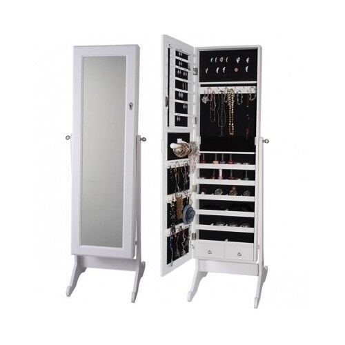White Full Length Mirror Jewelry Cabinet Armoire Organizer