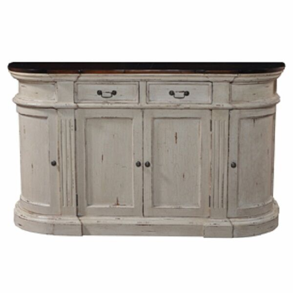 Oval Roosevelt Sideboard Buffet Antique Cream Distressed