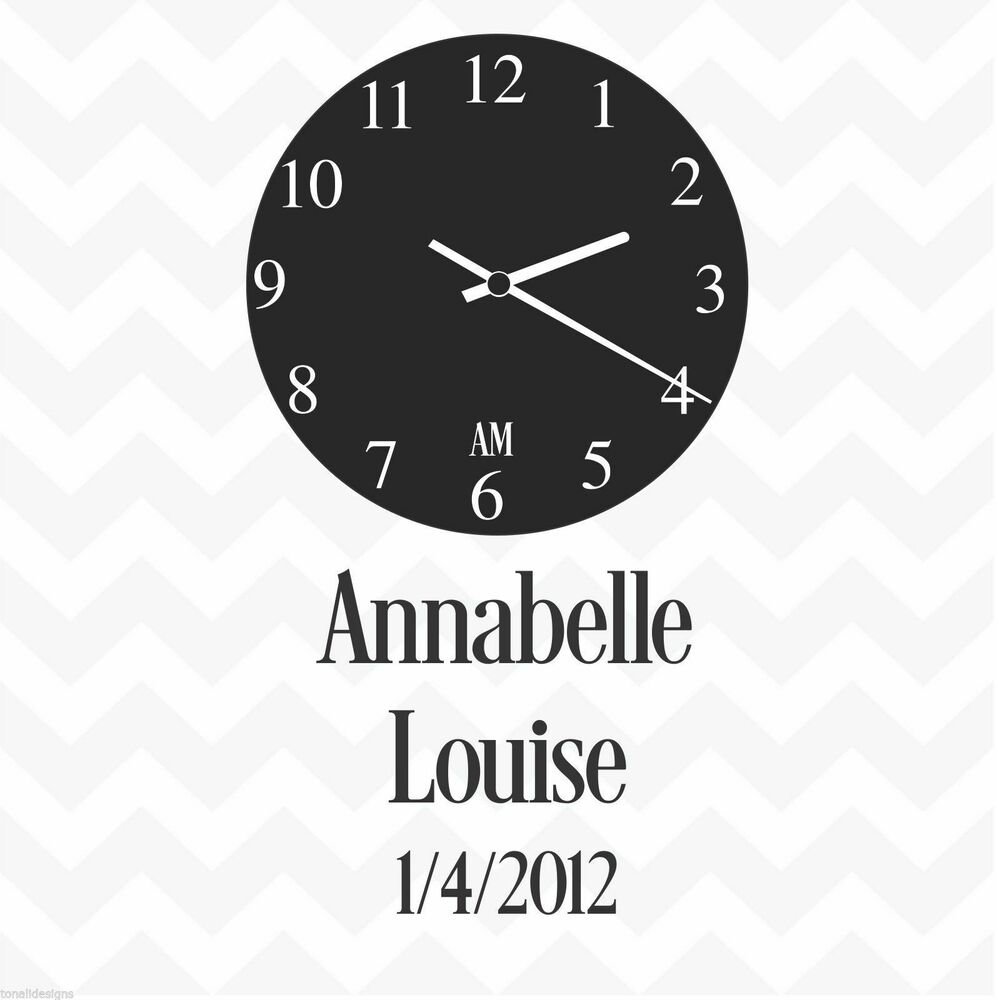 Clock Face Personalised Custom Date Amp Names Vinyl Wall Sticker Decal Family Ebay