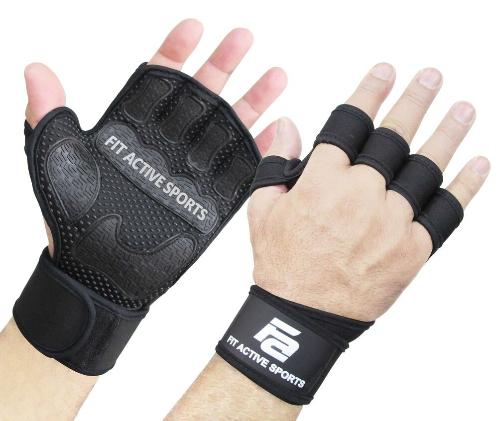 Weight Lifting Wrist Wraps Bandage Support Gloves Gym: Fit Active Sports Weight Lifting Gloves With Wrist Wraps