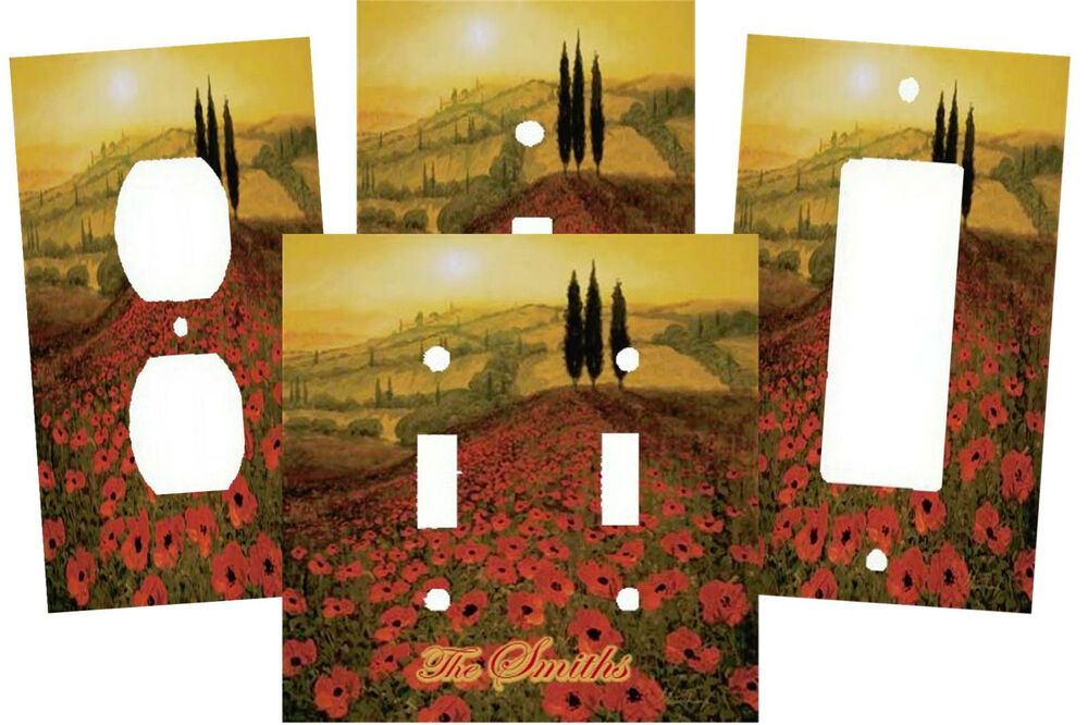 Personalized italian tuscan poppy fields light switch for Personalized home decor