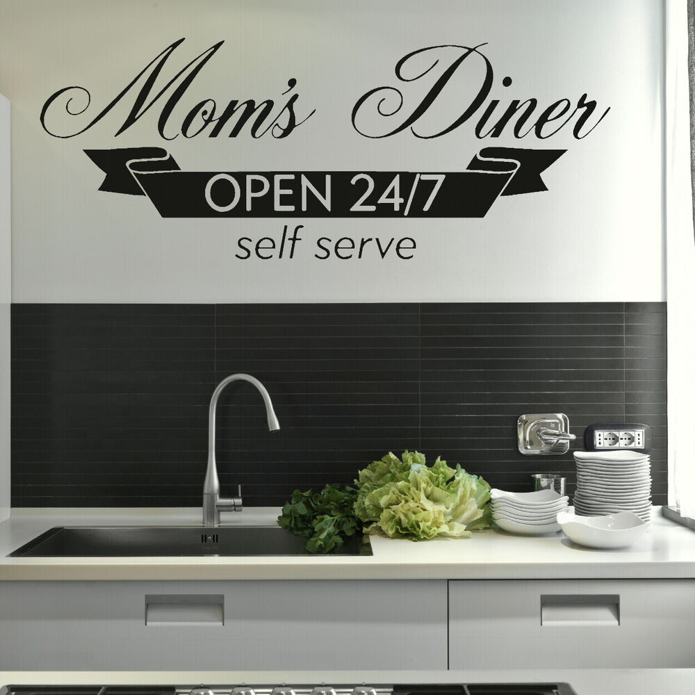 Moms diner kitchen quote wall stickers home vinyl decal for Dining room quote decals