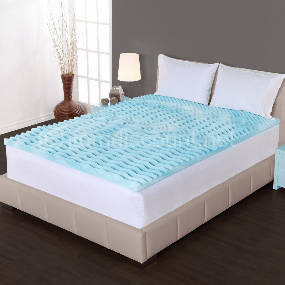 2 cooling gel foam mattress topper pad bed cushion 5 zone orthopedic convoluted ebay. Black Bedroom Furniture Sets. Home Design Ideas