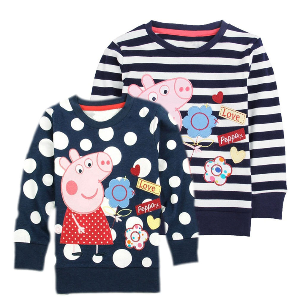 Cotton Kids Baby Peppa Pig Long Sleeves T Shirt Clothes