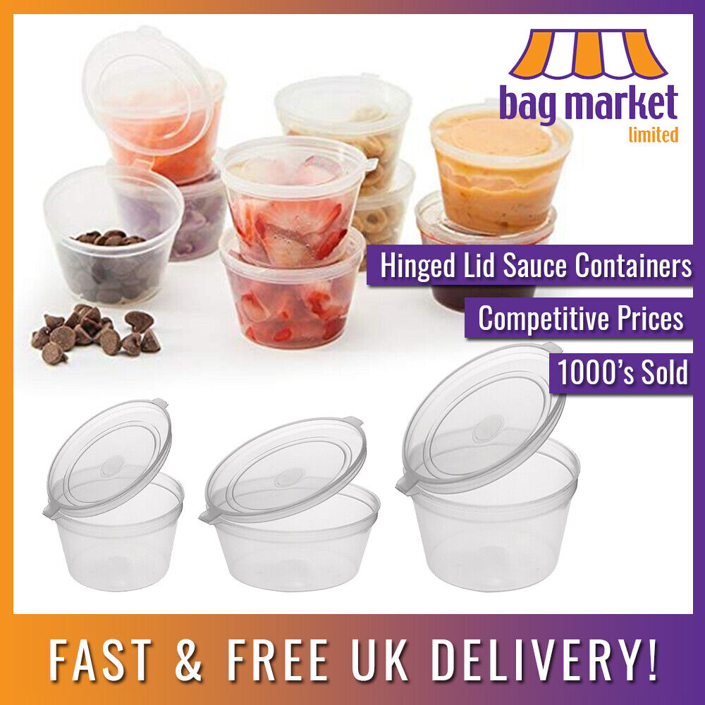Clear Hinged Lid Plastic Re Usable Sauce Containers Cups