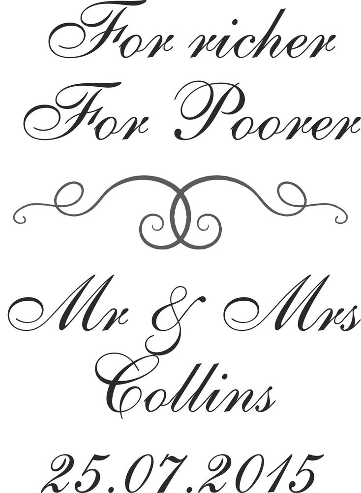 Personalised Wedding Rubber Stamp 11617 For Richer For Poorer