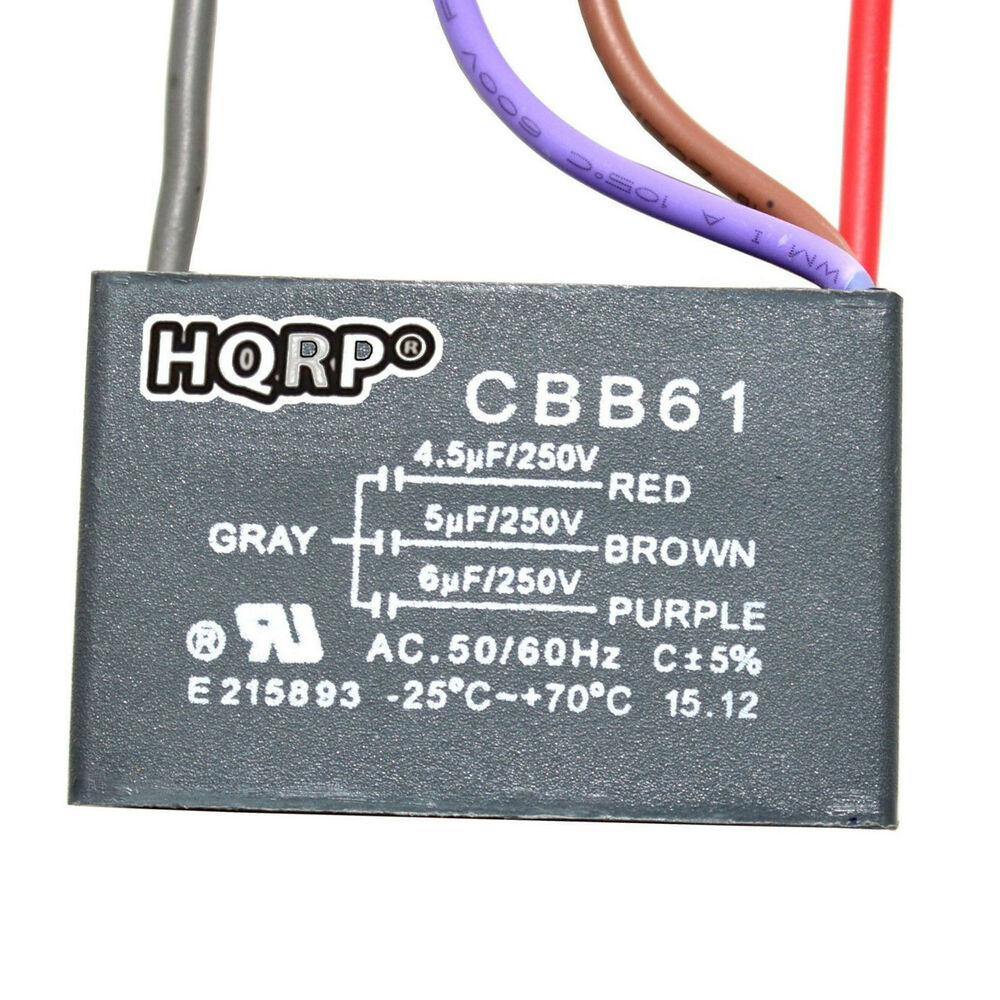 Capacitor For Hampton Bay Ceiling Fan 4 5uf 5uf 6uf 4 Wire