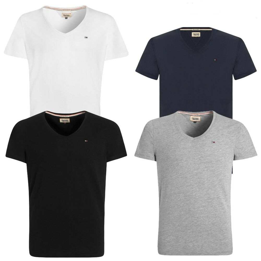 02bd9b9b Details about Tommy Hilfiger Denim Panson V-Neck T-Shirt Black Navy White  Grey Various Sizes