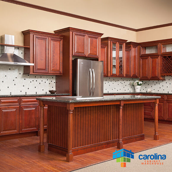 Cherry cabinets all solid wood cabinets 10x10 rta kitchen for Kitchen cabinets ebay