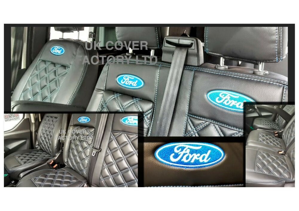 ford transit custom double cab 6 seater 2012 2019 van seat covers p50bk ebay. Black Bedroom Furniture Sets. Home Design Ideas