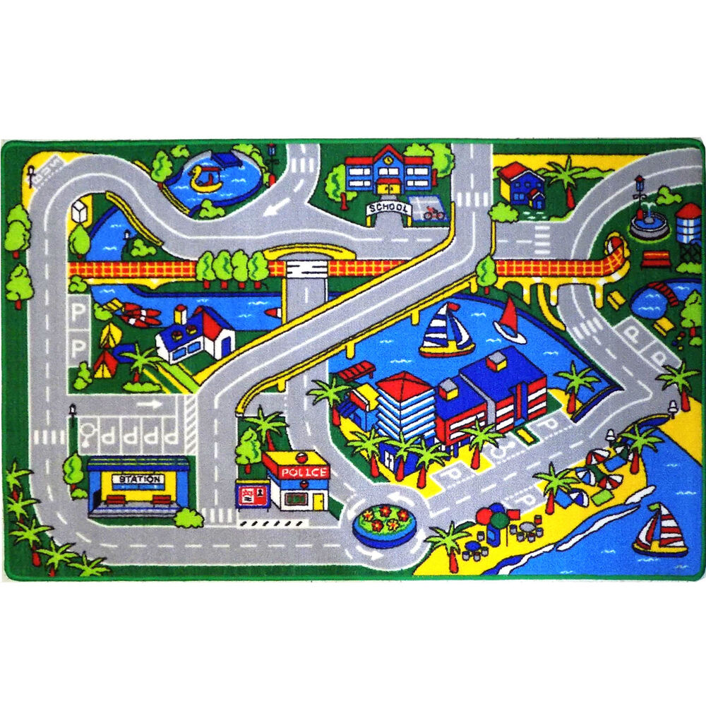 Harbor Map Kids Rug Cars Truck Children Play 3 X 5 Area