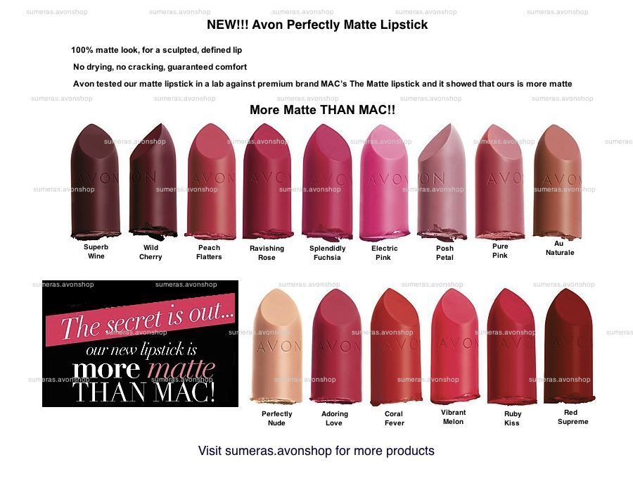 New Avon Perfectly Matte Lipstick Various Colours ~ Full ...