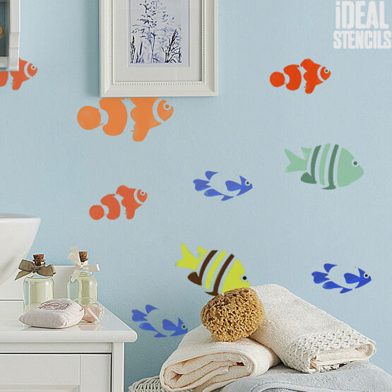 House Decoration Craft Kissing Fish Home Furnishings: Little Fish Sea Stencil Home Wall Decor Art Craft Reusable