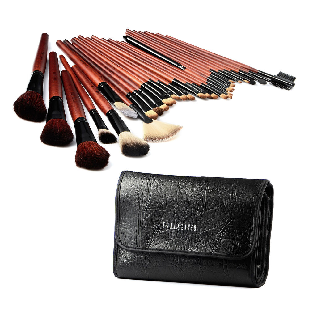 31tlg echthaare make up pinsel set brush set pinselset inkl elegant etui ebay. Black Bedroom Furniture Sets. Home Design Ideas