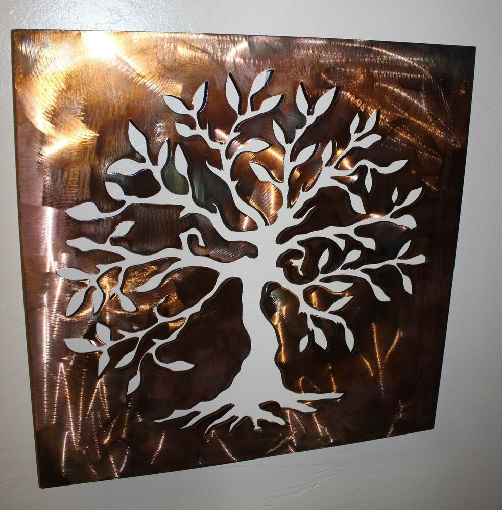 Boxed olive tree panel tree of life metal wall art decor for Tree wall art
