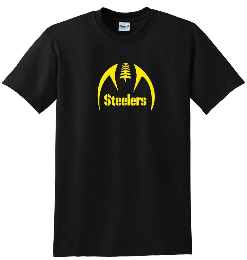 Pittsburg steelers t shirt front or lfet chest option for Cool football t shirts