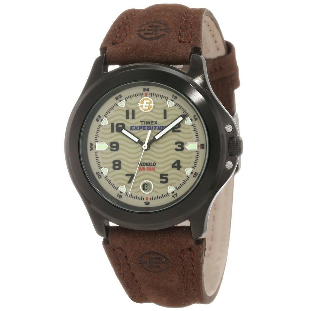 Mens timex indiglo expedition brown leather band brown dial date watch t47012 48148470125 ebay for Indiglo watches