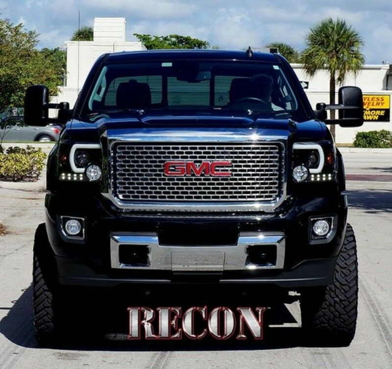 RECON Smoked Projector Headlights 264295BKC 2014-2016 GMC