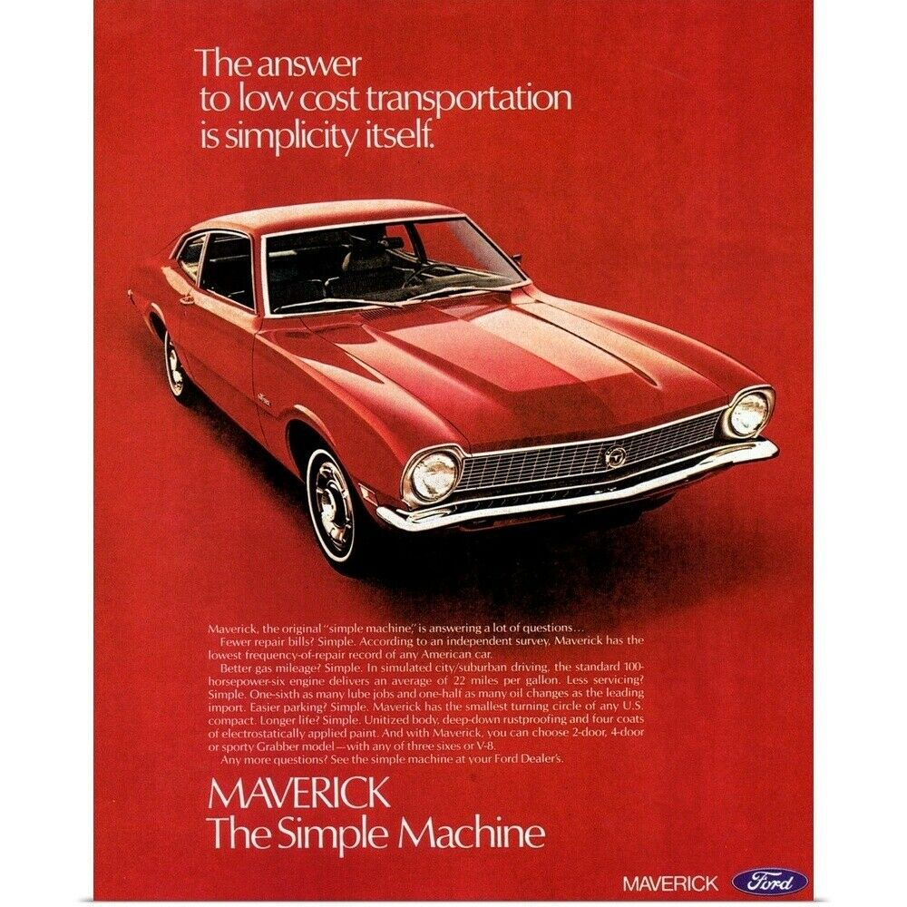 Poster Print Wall Art entitled Ford Maverick Automobile ...