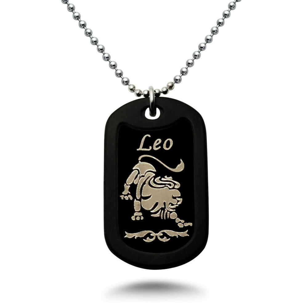 Black Zodiac Dog Tag Necklace: LEO Zodiac Sign Laser Engraved Aluminum Dog Tag Necklace