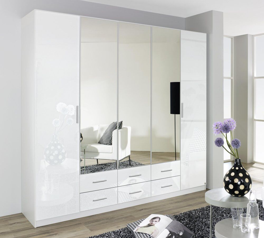 kleiderschrank 5 trg schrank spiegel schlafzimmer weiss hochglanz neu ebay. Black Bedroom Furniture Sets. Home Design Ideas