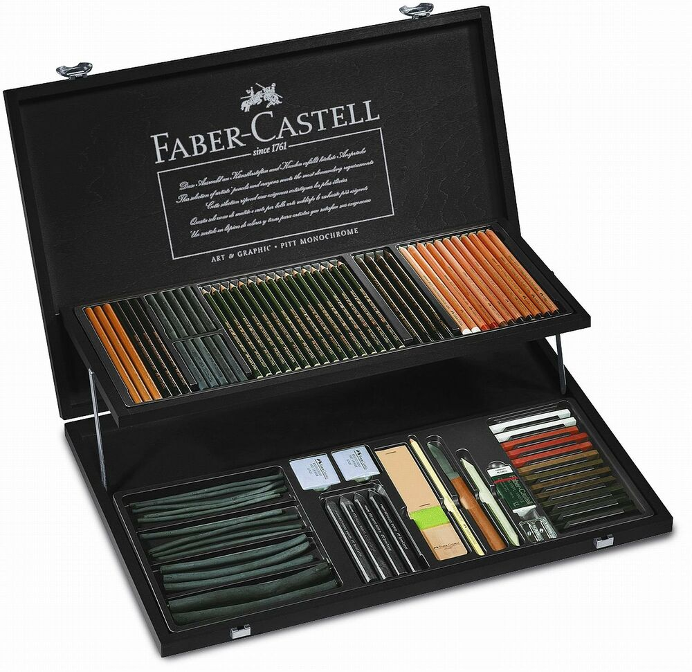 faber castell art supplies pitt monochrome wood case professional artist sketch 4005401129707 ebay. Black Bedroom Furniture Sets. Home Design Ideas