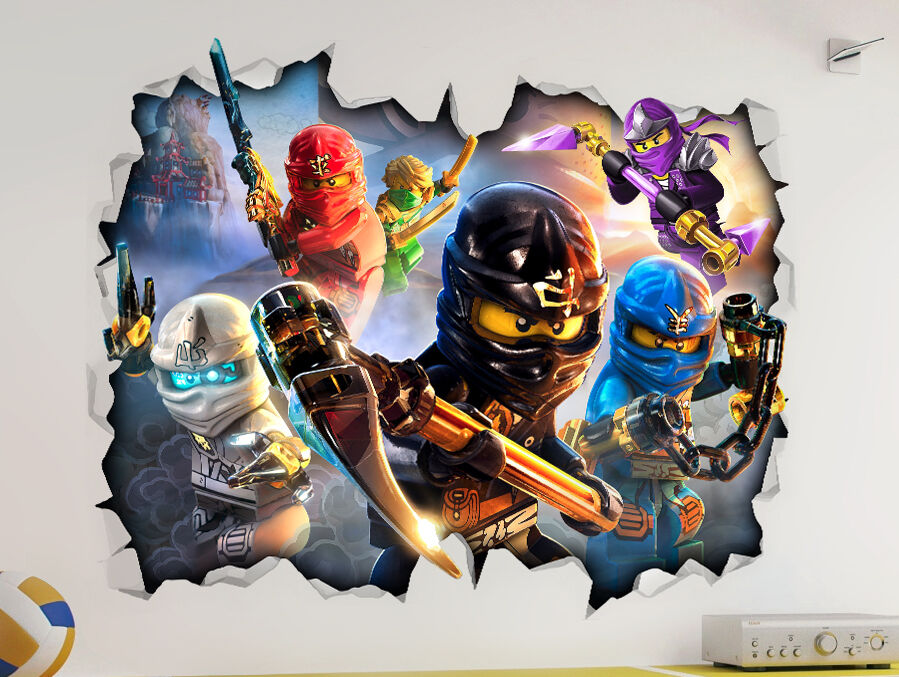 lego ninjago 3d look wall vinyl sticker poster childrens bedroom playroom mural ebay. Black Bedroom Furniture Sets. Home Design Ideas