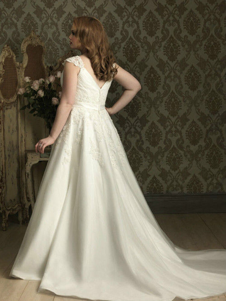 White ivory elegant wedding dress bridal gown custom plus for Wedding dress in ebay