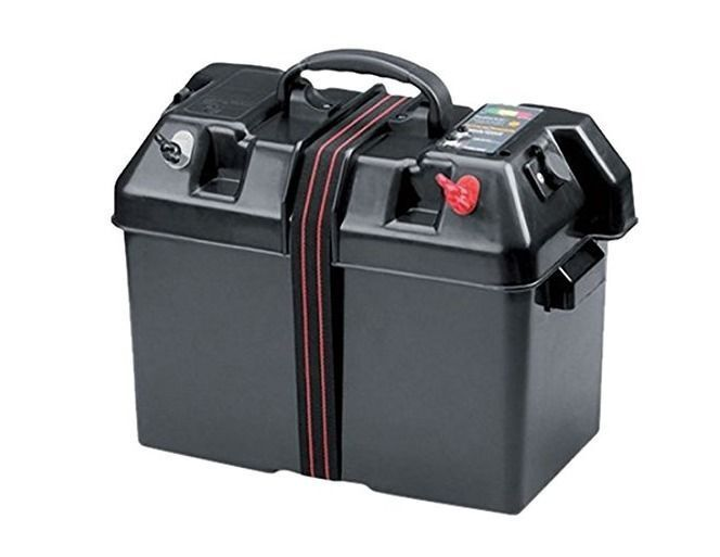 Marine battery box holder case trolling motor power center for Marine trolling motor batteries