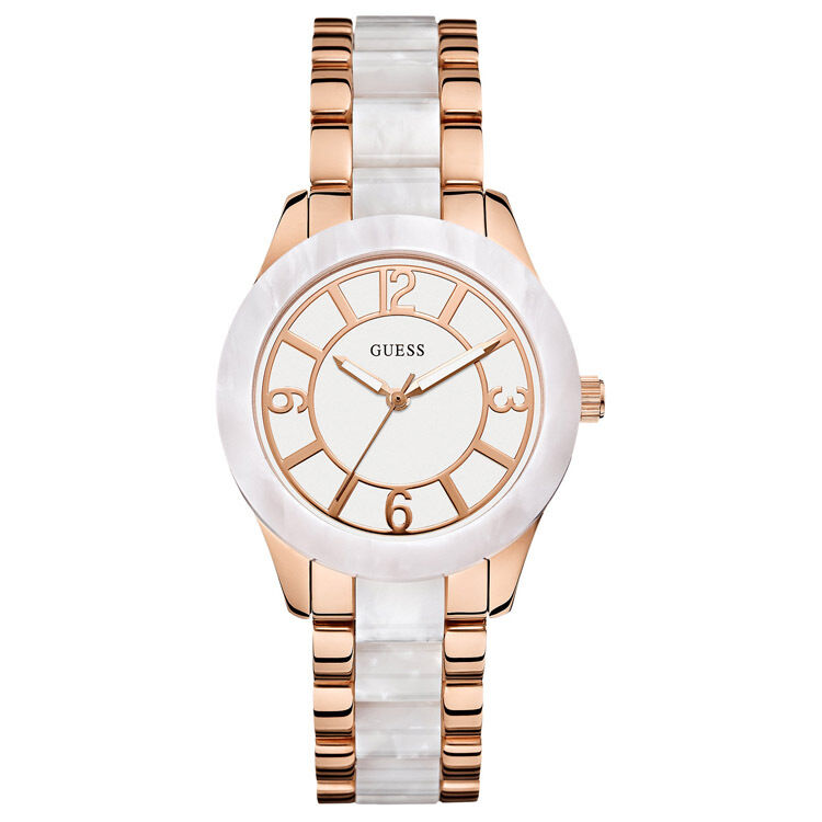 New Guess Watch For Women White Marble Like Case Face