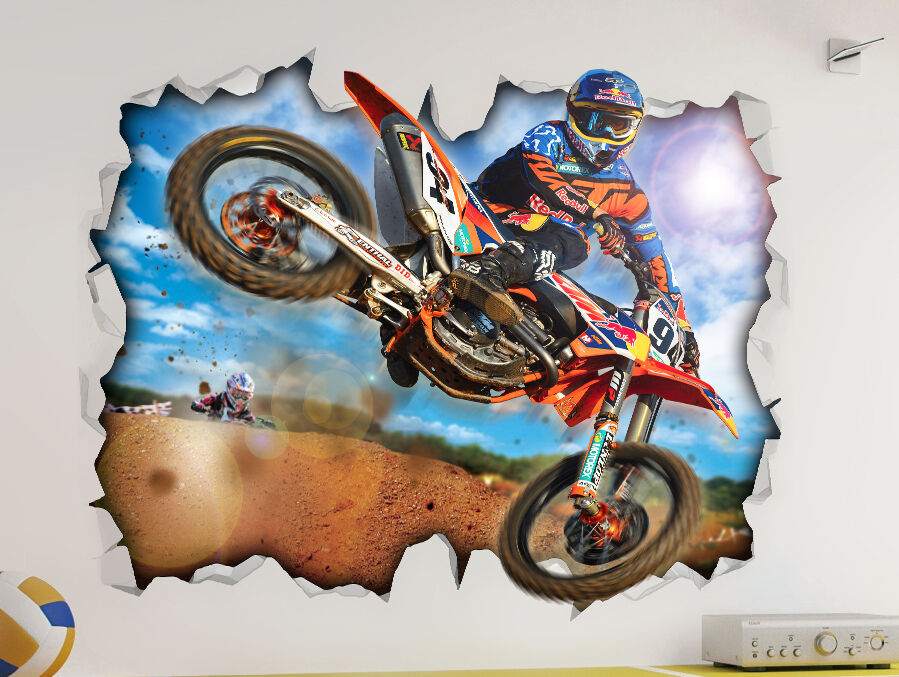 Motorcross dirt bike ktm wall vinyl poster sticker bed for Dirt bike wall mural