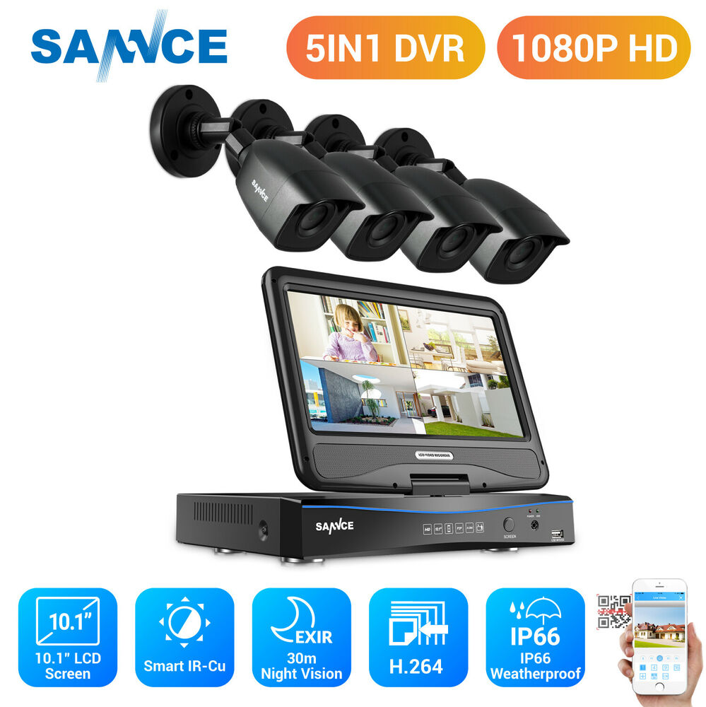 Cameras For Home Exterior: SANNCE 4CH 1080N DVR LCD Monitor 1500TVL Outdoor IR Home