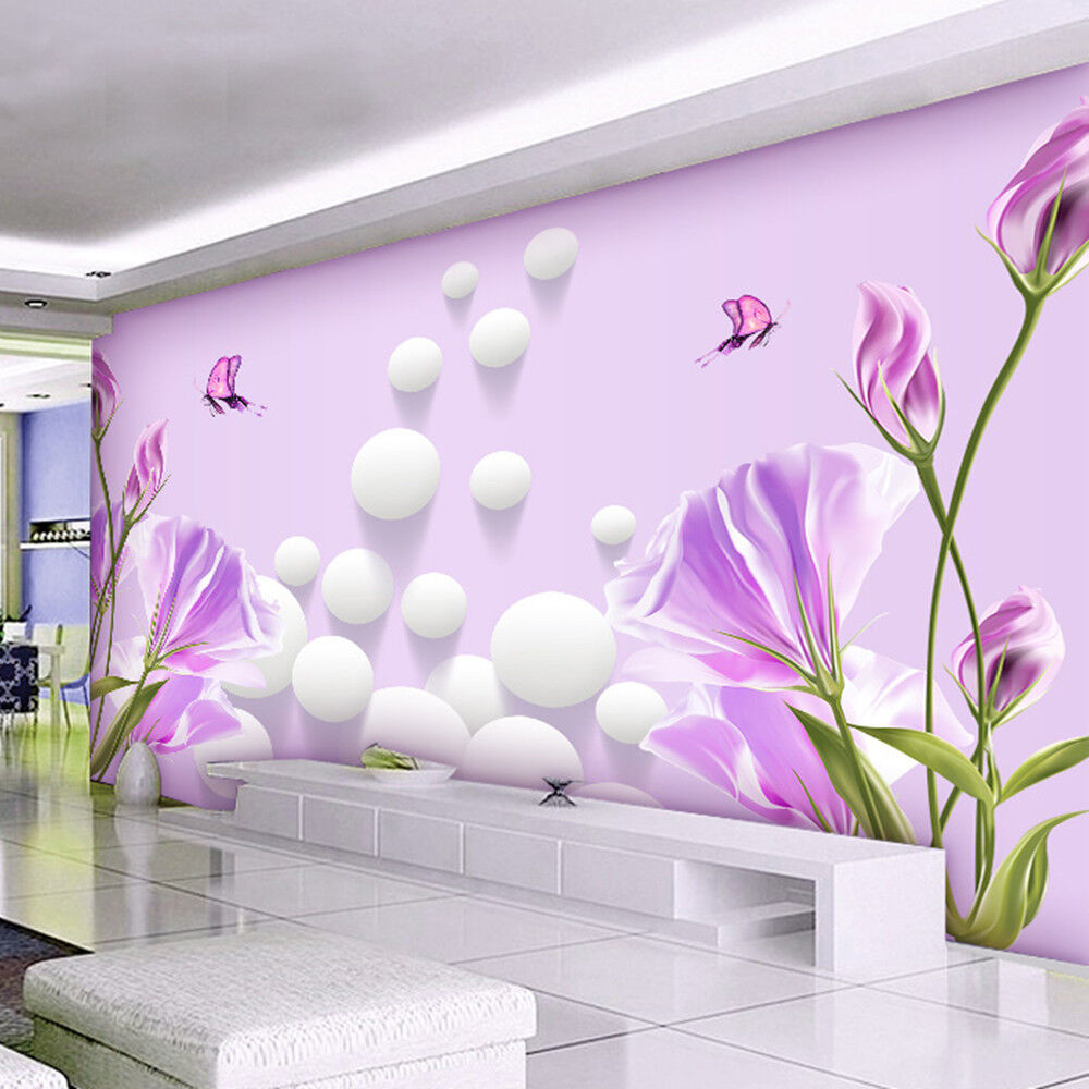 3d wallpaper bedroom mural modern living room tv flowers for Contemporary mural