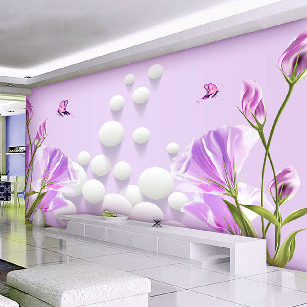 3d wallpaper bedroom mural modern living room tv flowers for Images of 3d wallpaper for bedroom