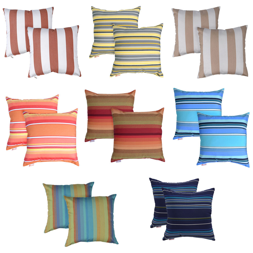 Sunbrella In/Outdoor Square Vertical Stripes Throw Pillows 16