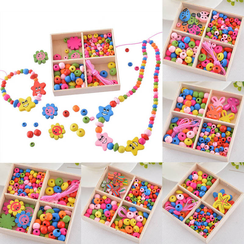 1box diy kids crafts creative wood beads kit jewelry for Arts and crafts sets for kids