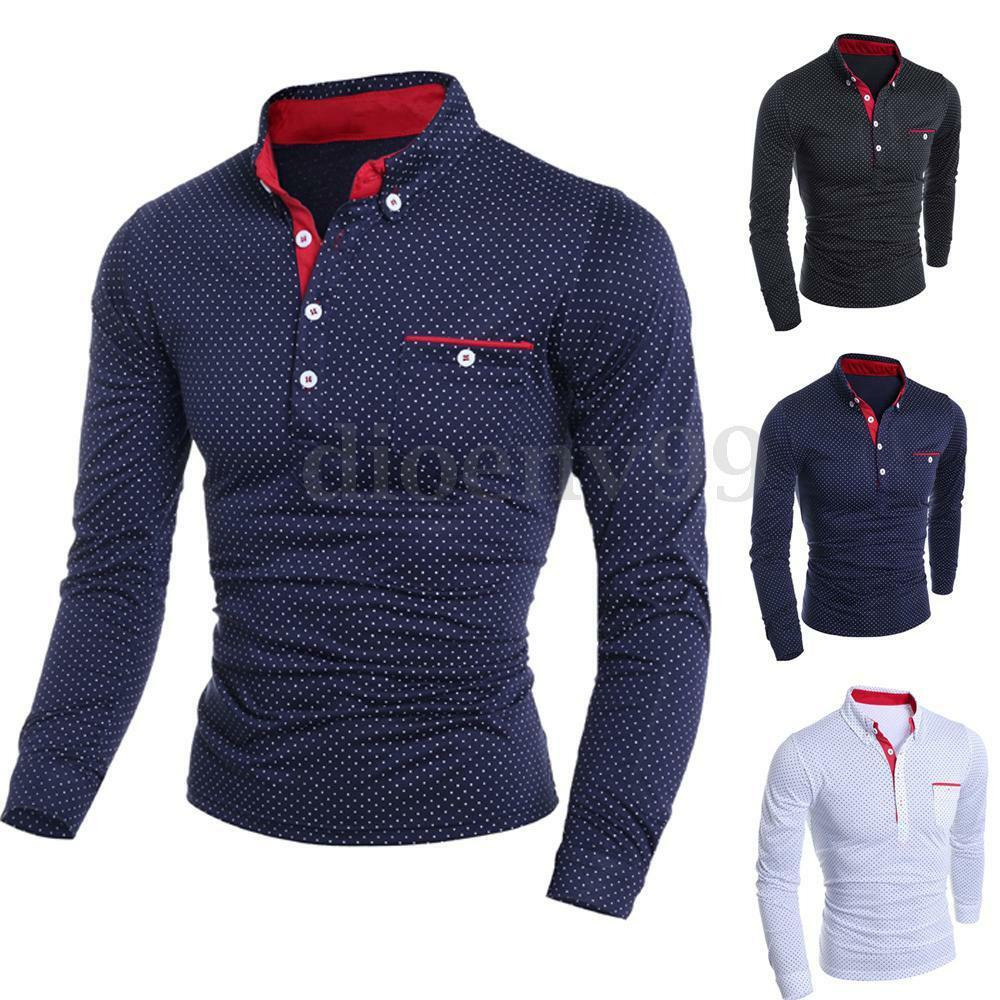 Fashion mens slim fit long sleeve polo shirt casual dress for Slim fit collared shirts